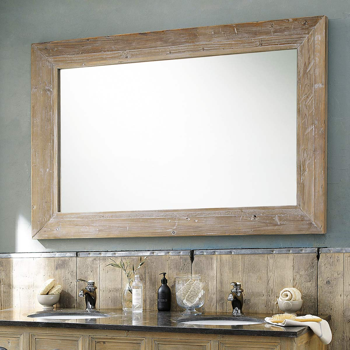 Grand miroir en bois naturel miroir d coration for Glace murale decorative