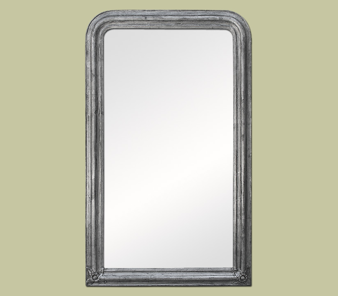 Grand miroir chemin e d co argent patin miroir d coration for Grand miroir rectangulaire