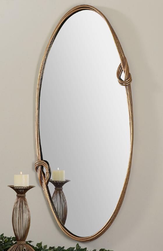 miroir ovale en m tal dor miroir d coration. Black Bedroom Furniture Sets. Home Design Ideas